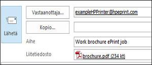 Esimerkki ePrint-työsähköpostista