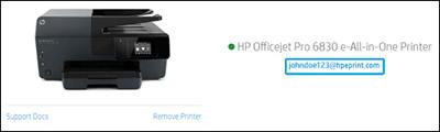 A nyomtató e-mail-címének helye a HP Smart weboldalon