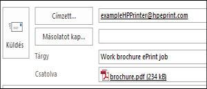 Példa egy ePrint feladat e-mailjére
