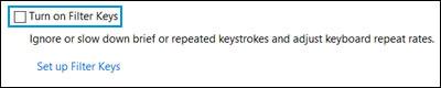 Zrušení zaškrtnutí možnosti Zapnout funkci Filtrování kláves