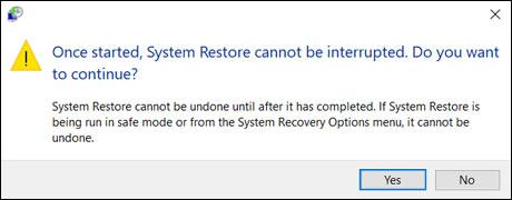 Potvrzení, že obnovení systému nemůže být přerušeno