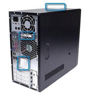 Vyhledání štítku produktu na horní a zadní straně skříně počítače