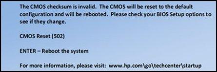 Příklad zprávy, která oznamuje resetování systému CMOS