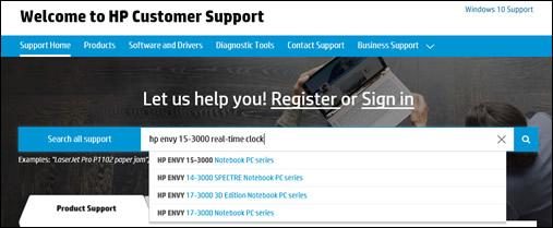 Příklad vyhledávání na stránce zákaznické podpory společnosti HP