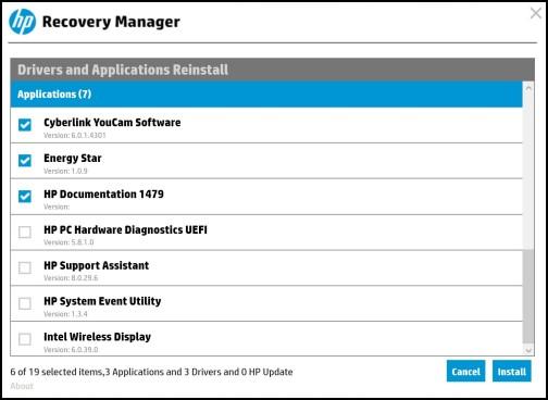 Újratelepíthető alkalmazások listája