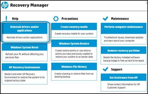 A Recovery Manager főképernyője
