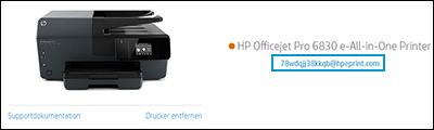 Position der Drucker-e-Mail-Adresse auf der HP Smart-Website
