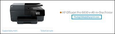 Placering av skrivarens e-postadress på HP Smart webbsida