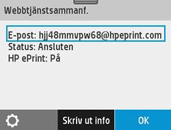 Exempel på skrivarens e-postadress på webbtjänstskärmen