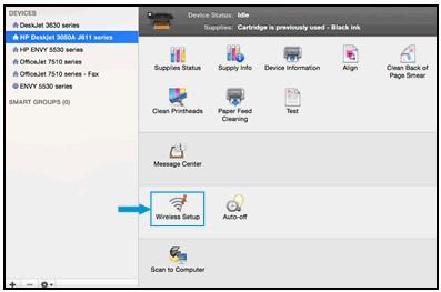 การคลิก Wireless Setup (ตั้งค่าเครือข่ายไร้สาย) ใน HP Utility