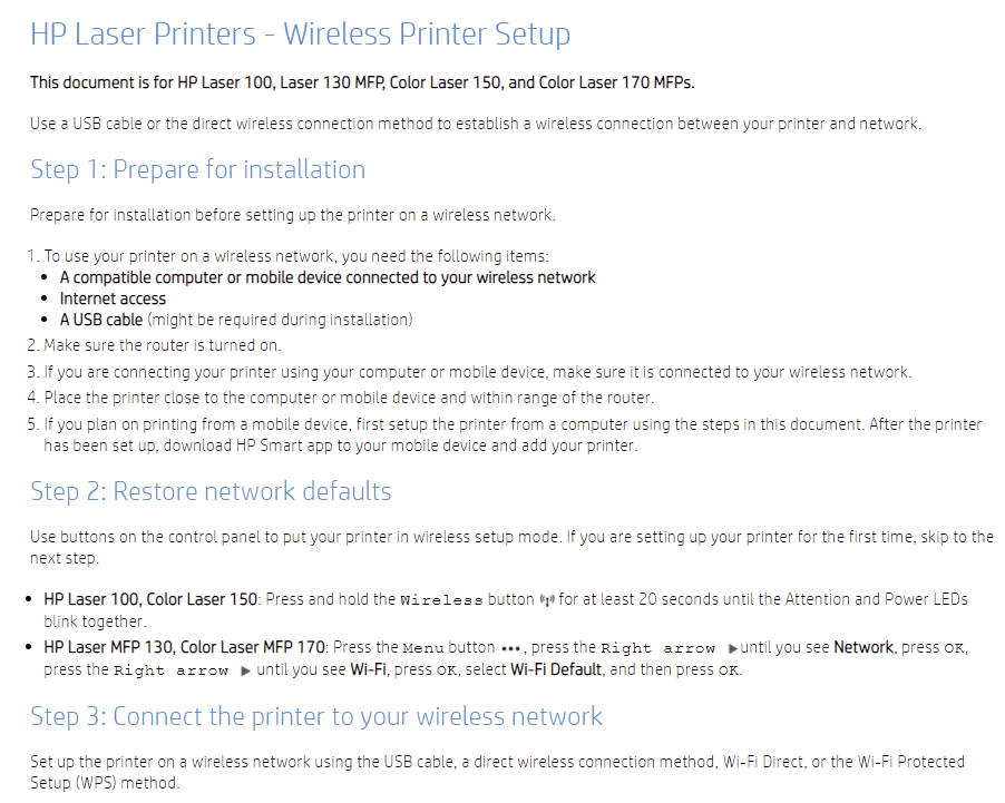 The image is a screenshot of the first steps of the wireless printer setup document. The screenshot does not show the steps for the specific printer connection methods.