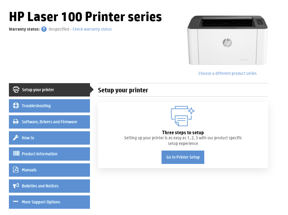 On the printer model landing page, make sure the Setup your printer menu option is selected. Click the Go to Printer Setup button in the Setup your printer subsection. The button is typically in the middle of the page.
