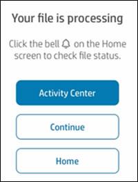 Možnosti při výzvě Your file is processing (Váš soubor se zpracovává)