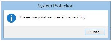 Close button on the 'restore point created successfully' screen