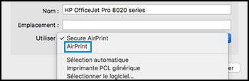 Confirmer qu'AirPrint est sélectionné dans le menu Utiliser