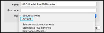 Confermare la selezione di AirPrint nel menu Usa