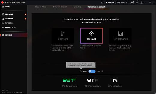 Performance Control screen set on Auto