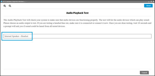 Select an audio output device to test