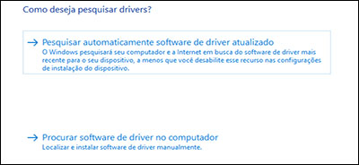 Clique em Pesquisar automaticamente por driver atualizado.