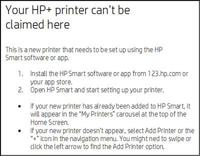 Voorbeeld van het bericht Uw HP+ printer kan hier niet worden geclaimd wordt weergegeven