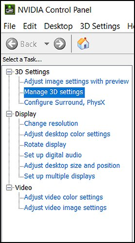 Manage 3D settings in the NVIDIA Control Panel