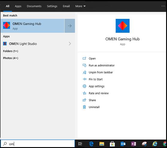 Open OMEN Gaming Hub from the Start menu