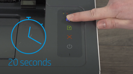 Example of pressing the Wireless button for 20 seconds