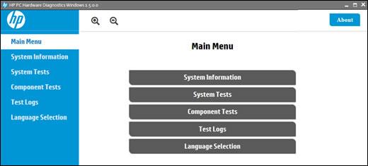 Diagnósticos de Hardware de PC HP para Windows en el menú principal