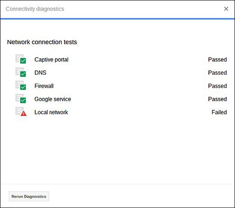 ChromeOS CROSH Get Help network connection test results