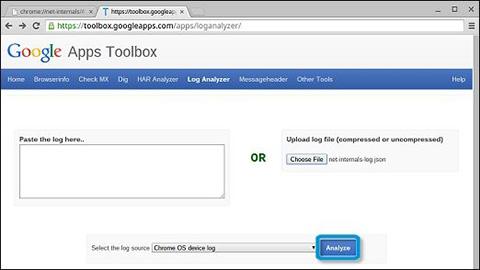 ChromeOS network log analyzer upload