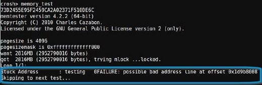 ChromeOS CROSH diagnostics - Memory test fail