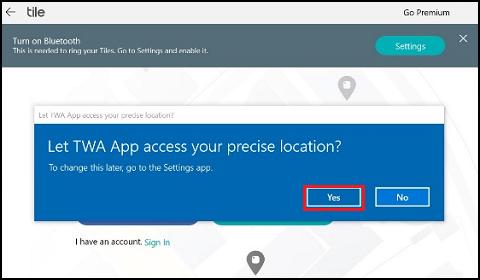 Skærmen for Tiles adgang til placering