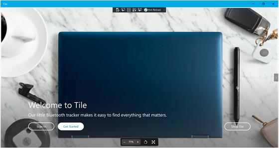 Startbildschirm der Tile-App