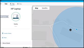 Hauptbildschirm der Tile-App
