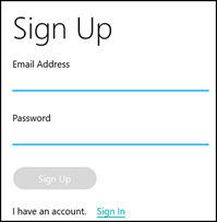 Tile sign up screen to enter email address and password