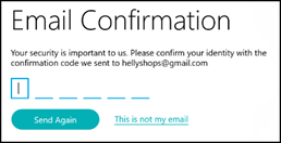 Email confirmation screen