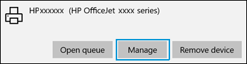 Clicking Manage to manage printer preferences