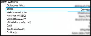 Estado de conexión inalámbrica conectado en la página de configuración de la red