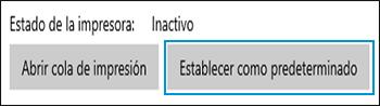 Configuración predeterminada de la impresora seleccionada en Windows