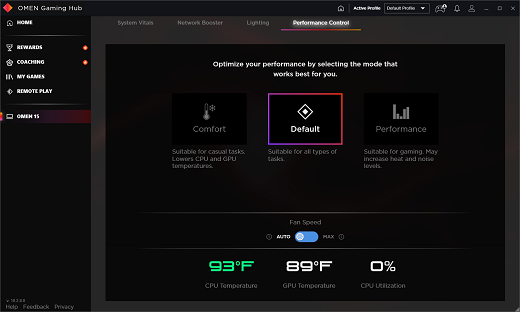 Performance Control screen set on Default