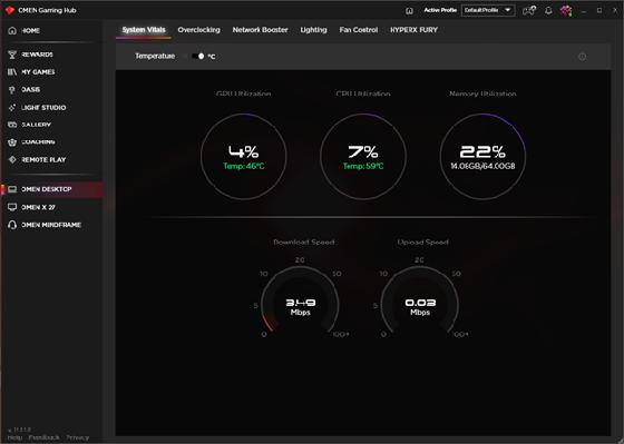 OMEN Gaming Hub System Vitals screen