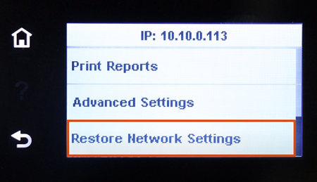 Example of selecting Restore Network Settings on a touchscreen control panel