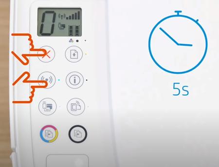 Ejemplo de presionar los botones Conexión inalámbrica y Cancelar durante cinco segundos