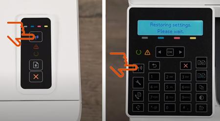 Ejemplo de pulsar y mantener pulsado el botón Conexión inalámbrica
