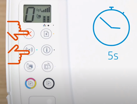 Przykład naciśnięcia przycisków Komunikacja bezprzewodowa i Anuluj przez pięć sekund