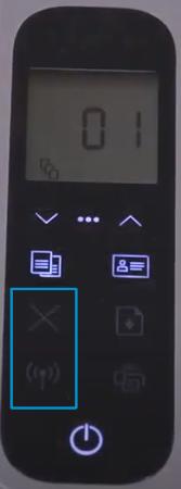 Przykład naciśnięcia przycisków Komunikacja bezprzewodowa i Anuluj na drukarkach HP Laser NS i Neverstop Laser