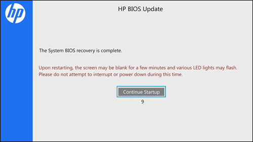 Pantalla de actualización del BIOS HP con el botón Continuar inicio