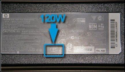 Wattangivelse fremhævet på strømadapteren, 120 W