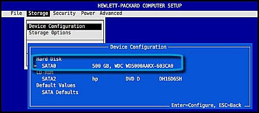 Harddisk, der vises på listen i BIOS