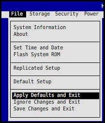 Apply defaults and exit (Standardeinstellungen anwenden und beenden)